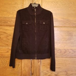 Lauren Ralph Lauren Black Corduroy Zip Up Jacket